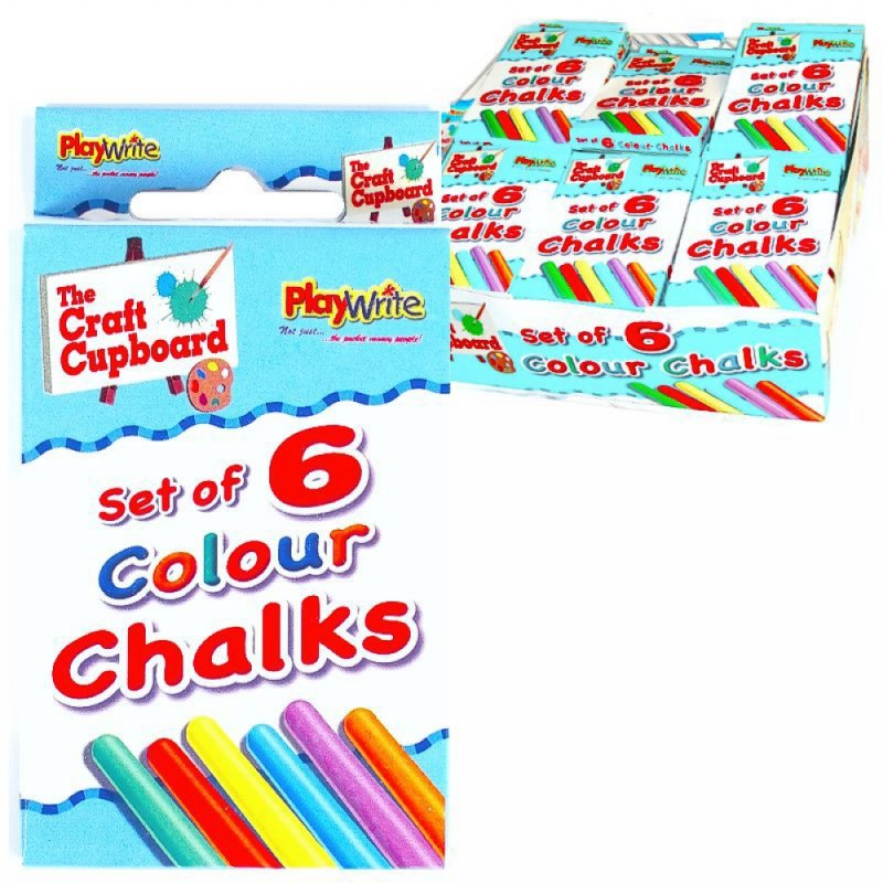 Coloured Chalks 6 pce in Box 3 doz CDU
