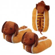 Hot Dog Fast Food Unisex One Size Pair of Plush Slippers