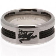 Manchester United F.C. Black Inlay Ring Small